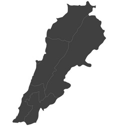 map of lebanon split into regions vector image vector image