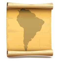 Paper Scroll with South America vector image vector image