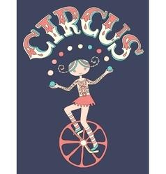 teenage girl juggler on unicycle with inscription vector image vector image