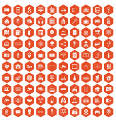 100 camera icons hexagon orange vector