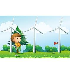 A girl playing golf near windmills vector