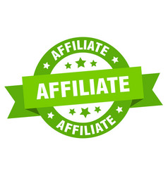 Affiliate ribbon affiliate round green sign vector