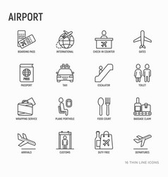 airport thin line icons set vector image