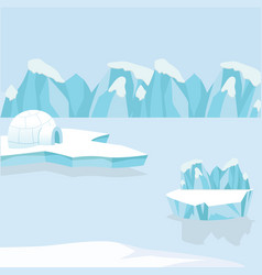 arctic iceberg and mountains in the snow vector image
