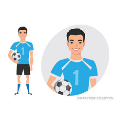 asian football character soccer player vector image