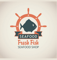 Banner for seafood shop with fish and a ship helm vector