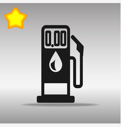black gasoline pump icon button logo symbol vector image