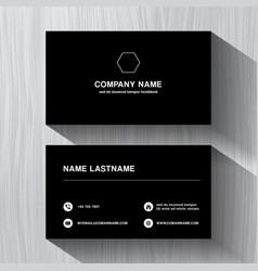 Black paper business namecard on a white wood vector