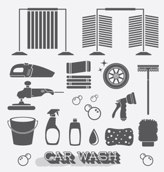 Car Wash Icons and Silhouettes vector