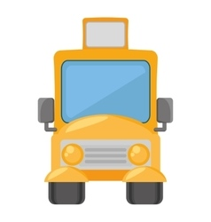 cartoon yellow school bus transport pupils vector image