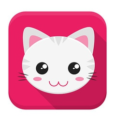 Cat flat app icon with long shadow vector image