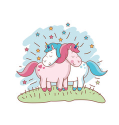 character unicorn couple loving meadow vector image