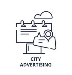 city advertising line icon concept city vector image
