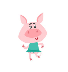 cute cartoon dansing girl pig isolated on white vector image