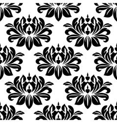 Damask seamless pattern with bold black motifs vector