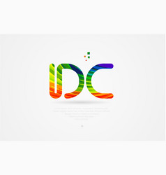 Dc d c rainbow colored alphabet letter logo vector