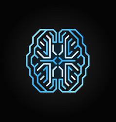 digital smart brain blue line icon on dark vector image