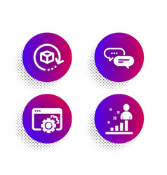 Dots message return package and seo gear icons vector