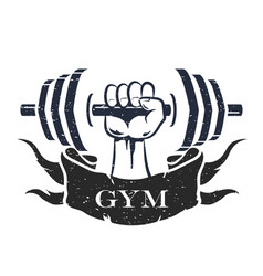 dumbbell in hand symbol vector image