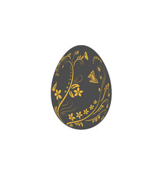 easter egg flat icon black egg isolated white vector image
