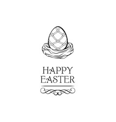 easter egg in nest greeting card with swirls vector image