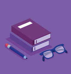 education set isometric icons vector image