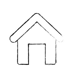 figure house object with roof and door vector image