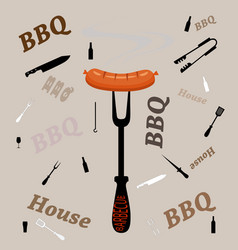 fork with grill sausage isolated on grey vector image