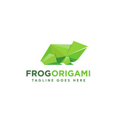 frog origami logo icon with polygonal logo style vector image