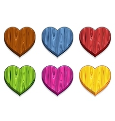 Funny cartoon colored wooden heart vector