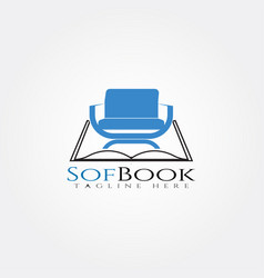 Furniture logo templatebook and seat icon vector