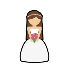 Girl cartoon wedding marriage icon vector