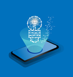 glowing bulb on screen smart phone vector image