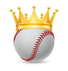Gold crown on baseball vector image