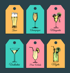 hand sketched alcoholic cocktails glasses tags vector image