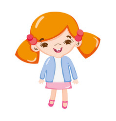 Happy girl child with two tails vector
