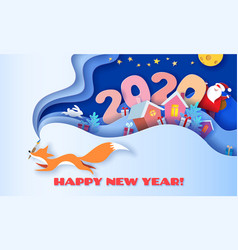 happy new year 2020 3d paper cut art vector image