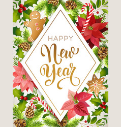 happy new year design composition of poinsettia vector image