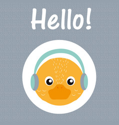 Hello duck cartoon vector