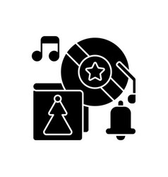 holiday music black glyph icon vector image