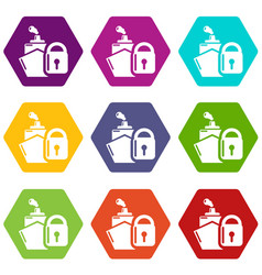 insurance travel icons set 9 vector image