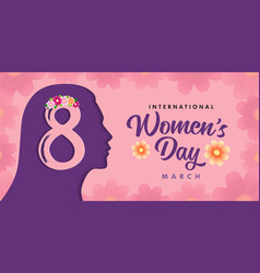 International womens day girl head and text vector