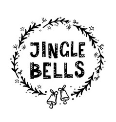 jingle bells greeting card with hand lettering vector image
