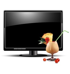 lcd panel with cocktail vector image vector image