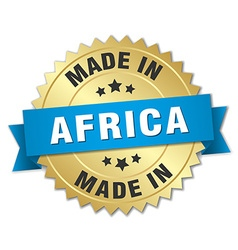 made in Africa gold badge with blue ribbon vector image