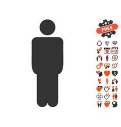 Man icon with dating bonus vector
