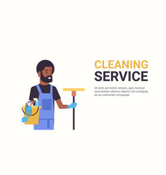 Man janitor holding bucket with tools and mop vector