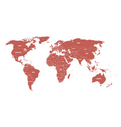 maroon political world map with country borders vector image