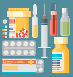 Medicine and drugs icons set with long shadows vector