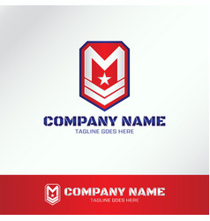 Military army logo template with letter m vector